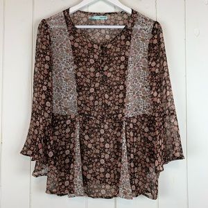 Maurices Babydoll Blouse Large Floral Bell Sleeves